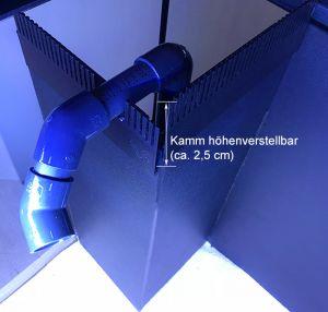 Überlaufschaft mit höhenverstellbaren kamm -  (2) Position hinten rechts - empf. für Meerwasser